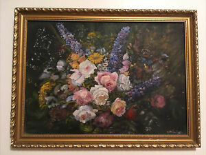 VINTAGE FLORAL STILL LIFE OIL PAINTING - SHABBY CHIC BLOOMSBURY LOOK . SIGNED
