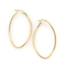 """14k Yellow Gold Long Freeform Oval Hoop Earrings, 2"""" (50mm)"""