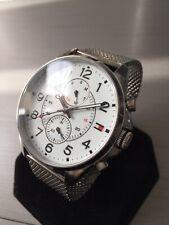 Mens Tommy Hilfiger Designer Watch White Dial DEAN Steel Mesh Genuine 1791277