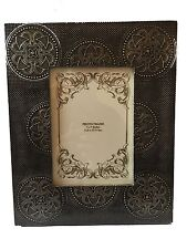 """Caltik Antique Brass Wooden Picture Photo Frame Free Standing Holds 5"""" X 7"""" In"""