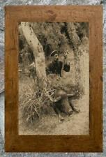 Remarkable... Hunter Posing , Wild Boar Hunting ... Antique 8x10 Photo Print