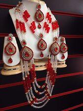 Più Recente Indiano Bollywood Rosso Festa Nuziale Collana Set Gioielli Orecchini Tikka