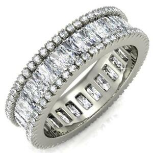 New Matashi Women's Vintage Style 18k White Gold-Plated Eternity Ring - Size 8