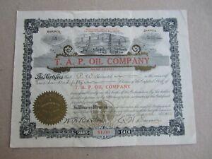 Old 1910 - T.A.P. OIL COMPANY - Stock Certificate - San Francisco - CALIFORNIA