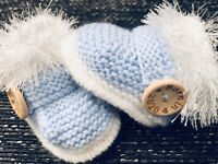 New Baby  Booties  BORN IN 2020 0-3 Months  Hand Knitted By Annie