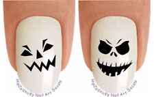 """Nail Decals #748H HALLOWEEN """"Scary Pumpkin Face 1"""" WaterSlide Nail Art Transfers"""
