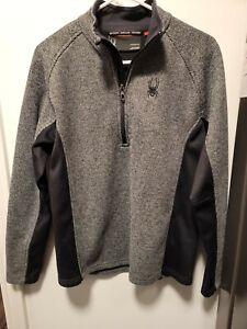 SPYDER boy's Pullover 1/4 Zip Long Sleeve Shirt Grey Gray Black Sz Medium Med M