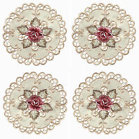 4pcs Embroidered Rose Cutwork Round Placemat Table Doily Mat Banquet Party Decor