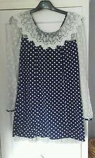 vintage 60/70's navy/white dress approx size 10