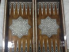 "Egyptian Beech Wood Inlaid Mother Of Pearl Backgammon Board (22"")"