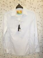 Burton UK M Off White Long Sleeved Striped Button Up Collared