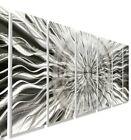 Amazing Metal Wall Art Large Modern Silver Abstract 7 Panels Decor By Jon Allen