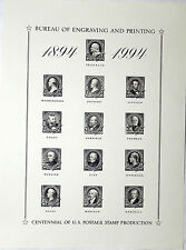 BEP 1994 SOUVENIR CARD B186 CENTENNIAL OF STAMP PRODUCTION 13 1894 STAMPS MINT