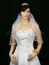 "2T White Bridal Shoulder Short Length 1/4"" Ribbon Edge Wedding Veil"