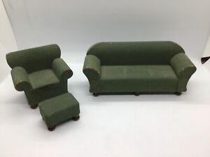 Strombecker Dollhouse Vtg Wood Living Room Chair, Sofa and Ottoman 1930's