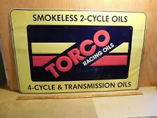 """Large Vintage NOS TORCO RACING OIL Motorcycle Dealer sign  36"""" wide X 23"""" tall 3"""