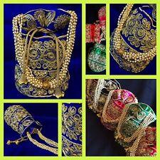 Celebrity Style Bleu Or Potli Indian Sac Parti Embrayage avec cordon de serrage Dolly Sac