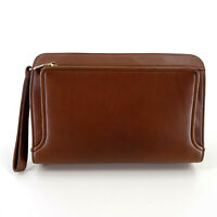 Balenciaga Vintage Leather Pouch Clutch Bag Wristlet in Brown