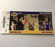 Los Angeles Lakers Dallas Mavericks NBA Basketball Game Ticket Stub April 4 2014