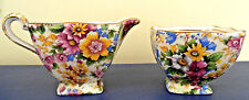 ROYAL WINTON CHINTZ CREAMER AND SUGAR FLORAL FLOWERS GRIMWADES MADE IN ENGLAND