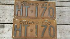 1933 Ontario License Plate Pair HT - 170 Good Condition