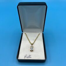 """14K Gold Plated CZ Cubic Zirconia Pear Pendant Chain Necklace 18"""" KAS"""