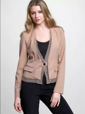 NWT GAP Sheer Mesh Trim Blazer in New Bisque Single Button Tailored Jacket 0