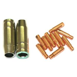 SWP MIG WELDING TIPS 0.8MM x 6MM MB15 EURO TORCH + CONICAL NOZZLE 12PC SET