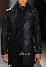 Custom Made All Size Genuine Blazer Coat Leather Jacket Double Breasted Designer