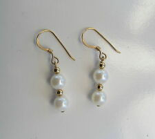 Earrings Freshwater cultured Pearls  8mm oval  round 14K gold filled wires  E214