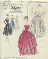 1951 Vintage VOGUE Sewing Pattern B34 EVENING & WEDDING DRESS (R972)