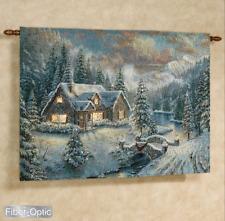 High Country Christmas Fiber Optic Tapestry Wall Hanging ~Thomas Kinkade