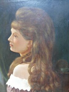VICTORIAN OIL ON CANVAS PORTRAIT OF A GIRL ARTIST A BROWN  FREE SHIPPING ENGLAND