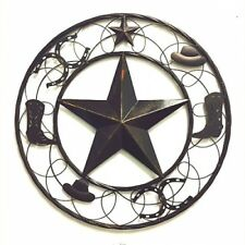 """24"""" STAR WITH BOOT HORSESHOE HAT BARN METAL RUSTIC WALL ART WESTERN HOME DECOR"""