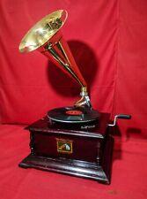 HMV Gramophone Gramaphone Phonograph Brass Horn Vintage Look Victor WORKING New