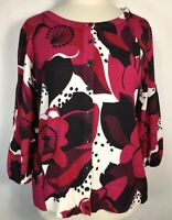 Style & Co Woman's Black White Red Cardigan Button Up Sweater 3/4 Sleeve Size M