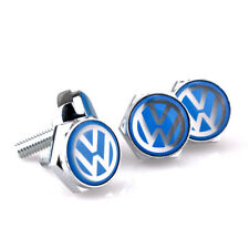 Car License Plate Frame Security Screw Bolt Caps Cover For VW Volkswagen Blue
