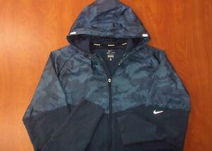 Nike Running Camo Print Dri-Fit Performance Reflective Hooded Jacket XL ~NEW~