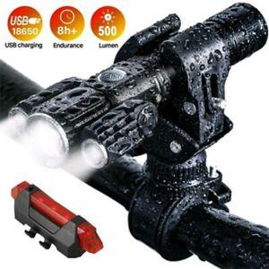 USB Taschenlampe 3 LED Fahrradlicht Fahrrad Scheinwerfer Rücklicht Halterung Set