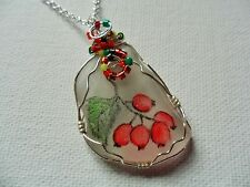 "Hawthorn berries wildflower necklace hand painted english sea glass 18"" chain"
