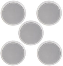 """NEW (5) 8"""" CEILING IN WALL HOME THEATER SPEAKERS CONTRACTOR BUSINESS LOT WHITE"""