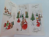 UNUSED Vtg COUPLE Sing At PIANO Attend CHURCH Multi Fold CHRISTMAS GREETING CARD