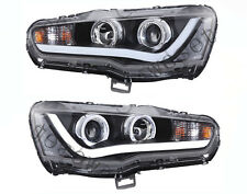 LED DRL Headlights For 2008-2017 Mitsubishi Lancer Evo X Front Lamps Angel Eyes