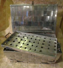 Vintage Antique Aluminum Metal Woven Hinged Lid Basket with Tray Jewelry Box