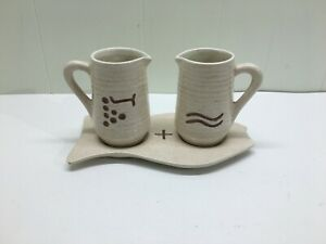 CERAMIC WATER AND WINE PITCHERS WITH TRAY