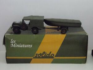 Miniature SOLIDO tank char Dodge 4x4 + bateau baché 1/43e