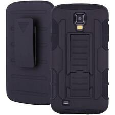Impact Armor Box Case Cover+Belt Clip Holster for Samsung Galaxy S4 Active Black