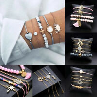 Fashion Women Rope Stone Beads Crystal Chain Alloy Bracelets Set Jewelry Gift