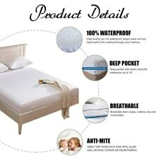 Queen Size Mattress Cover Fabric Zippered Protector Waterproof Bed Bug Dust Mite