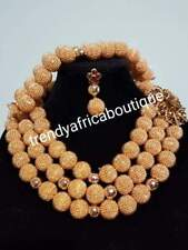 SALE: 3pcs. Hand Beaded-Necklace set. Nigerian/African Traditional wedding coral